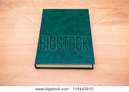 Book With Empty Dark Green Leather Cover