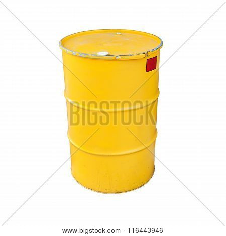 Yellow Metal Barrel Isolated On White
