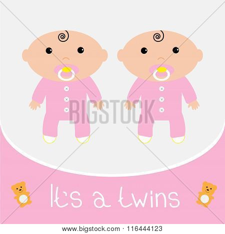 Baby Shower Card. Its Twins Girls. Flat Design.