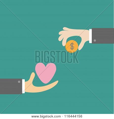 Hands With Heart And Money Dollar Coin. Exchanging Concept. Flat