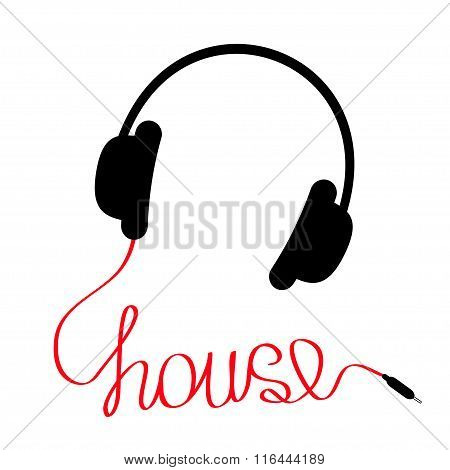 Black Headphones With Red Cord In Shape Of Word House. Music Car