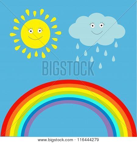 Cartoon Sun, Cloud With Rain And Rainbow Set.