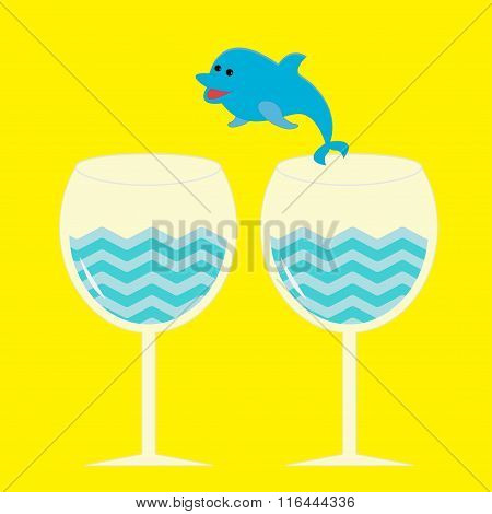 Cocktail Drink Glasses And Jumping Dolphin.