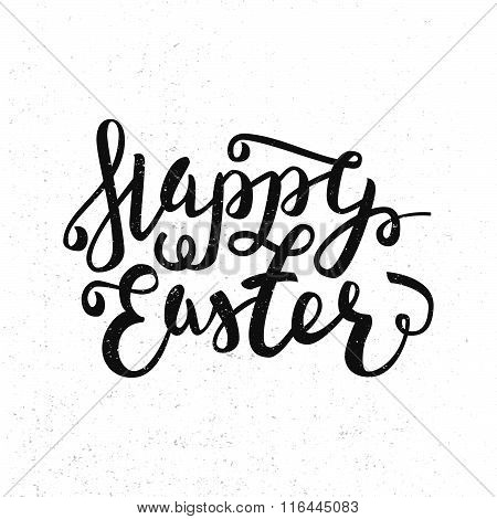 Happy Easter Greeting Card. Hand Drawn Lettering Calligraphic Design Label Isolated On White. Easter