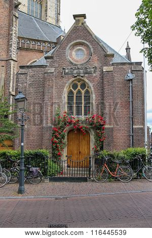 Entrance Door Of The Grote Kerk (sint-bavokerk) In The  Historic Center Of Haarlem, The Netherlands