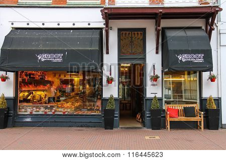 Meat Products Shop Groot Traiteurslagers On Kruisstraat Street In Haarlem, The Netherlands