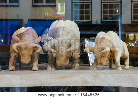 Wooden Figures Of Bulls In The Shop Window On Kruisstraat Street In Haarlem, The Netherlands