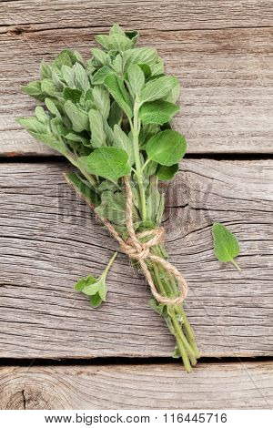 Bunch of garden oregano herb on wooden table. Top view