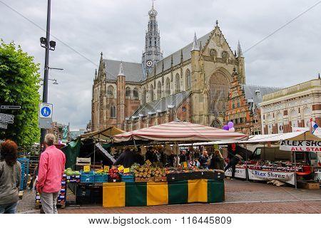 Exhibition Sale In The Grote Markt In Haarlem. View To The Grote Kerk (sint-bavokerk). The Netherlan