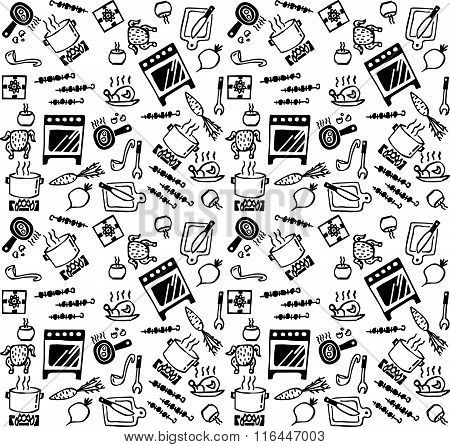 Cooking objects icons black and white seamless pattern.