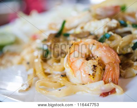 Thai Noodle Or Padthai With Shrimps