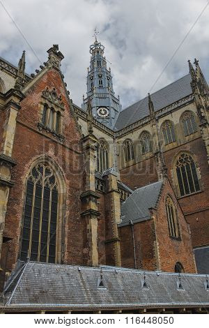 The Bell Tower Of The Grote Kerk (sint-bavokerk) In The  Historic Center Of Haarlem, The Netherlands