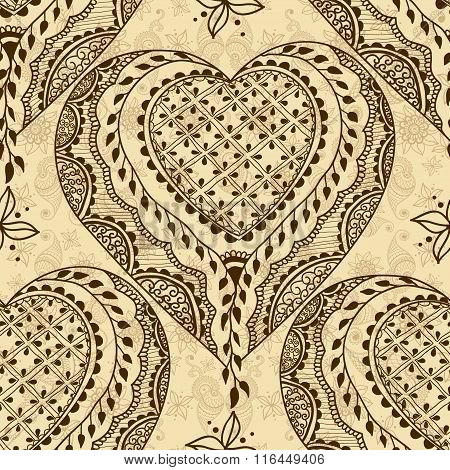 Vector Seamless Texture With Floral Ornament In Indian Style. Mehndi Ornamental Hearts