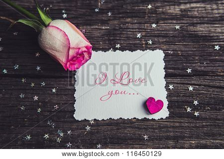 Pink Roses With A Note Declarations Of Love