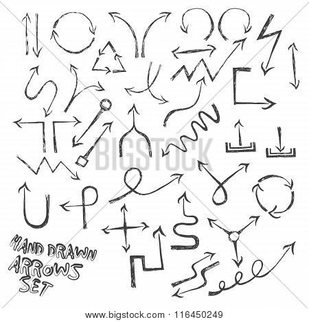 Set of ink hand drawn black arrows on white background