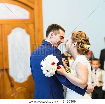 the first dance of gentle stylish happy   bride and groom