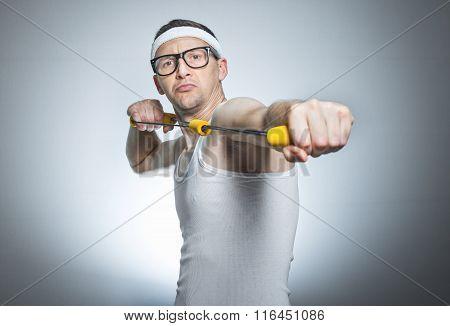Nerd Man Doing Gym