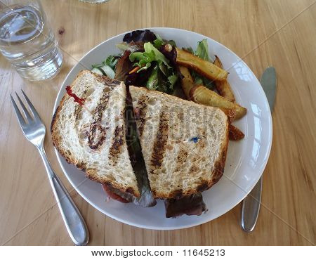 Veggie Sandwich With Side Salad And Fries