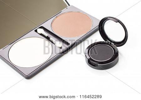 Kit Of Blusher Powder With Eyeshadows Isolated