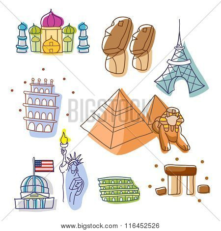 Vector Simple Cute World Historic Landmark Outline Sketch Illustration