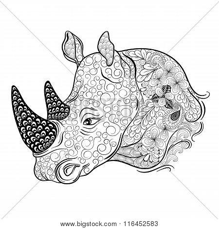 Rhinoceros Head Doodle