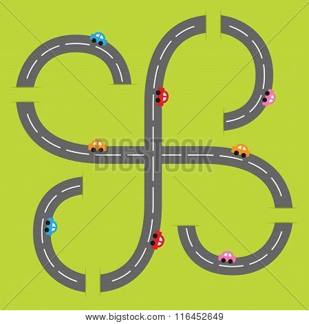 Background With Two Curling Road White Marking And Cartoon Cars. Flat Design.