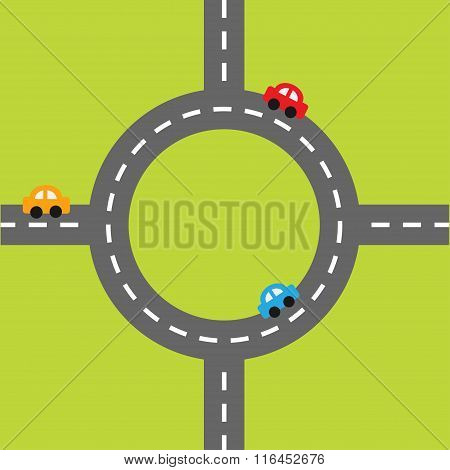 Road White Marking And Cartoon Cars. Circle Round Crossroad. Design Element Set. Flat Design.