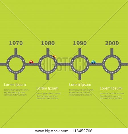 Infographic Timeline Four Step Round Circle Crossroad Set. Road White Marking And Cartoon Cars. Temp