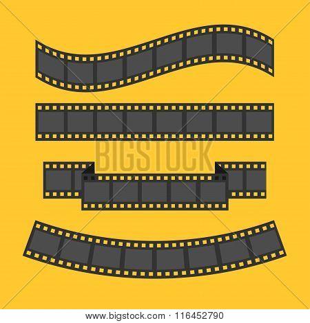 Film Strip Frame Set. Different Shape Ribbon. Design Element. Yellow Background. Flat Design.