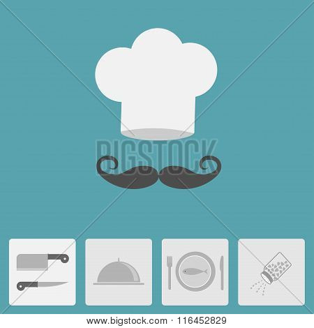 Chef Hat With Moustache. Icon Set. Silver Platter Cloche, Knife, Fish Plate, Fork, Salt Shaker. Menu