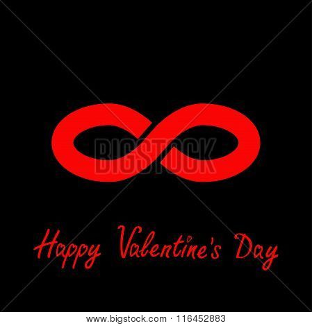 Limitless Red Sign Symbol. Infinity Icon. Happy Valentines Day. Flat Design. Black Background.