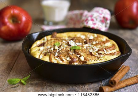 Rustic Apple Pancake In A Skillet Pan.
