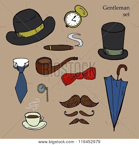Gentlemen Set. Umbrella, Hat, Bow, Tie, Mustache. Vector Illustration
