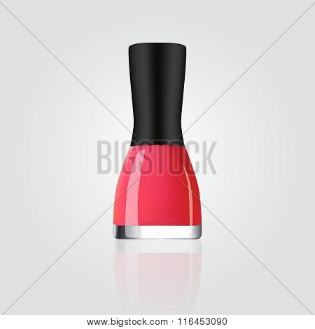 Bottle of crimson nailpolish. Vector illustration.