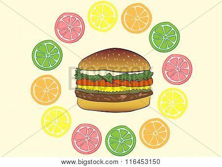 Burger in citruses