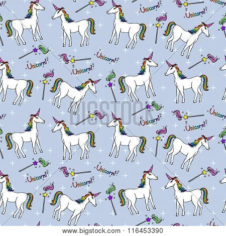 Seamless Pattern With Unicorns And Magic Wands
