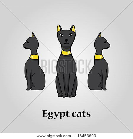 Three Egypt Black Cats