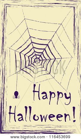 Vintage Design Postcard With Purple Ink Drawing Of Spider And Spider Net On Yellow Paper.