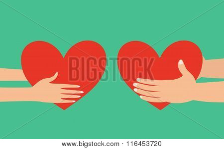 Male And Female Hands Giving Heart