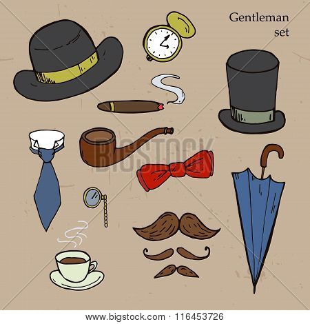 Gentlemen Set. Umbrella, Hat, Bow, Tie, Mustache.