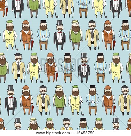 Seamless Pattern With Cute Bearded Gentlemen