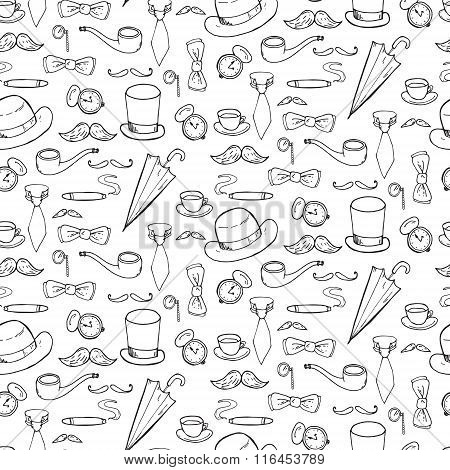 Seamless Pattern With Gentlemen Elements, Hats And Mustache.