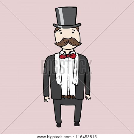 Illustration Of Isolated Cute Bearded Gentleman.