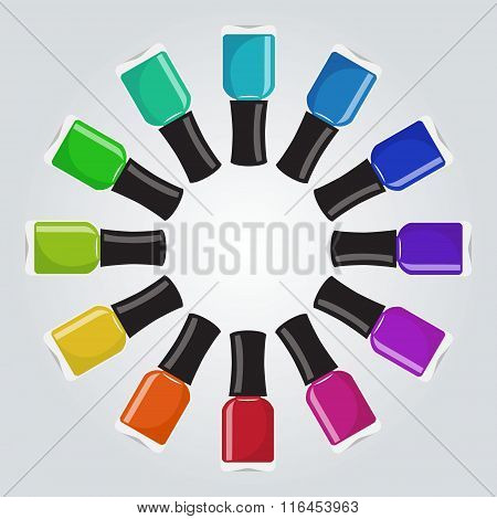 Set Of Different Colors Nail Polish Botthes In A Circle Shape