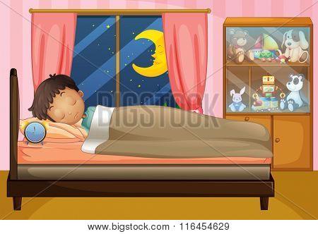 Boy sleeping in his bedroom illustration