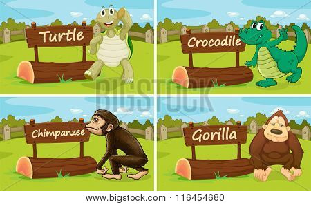 Wild animals standing by the sign illustration