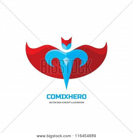 Comix hero - vector logo concept in flat style design. People character. Hero logo. Super logo.