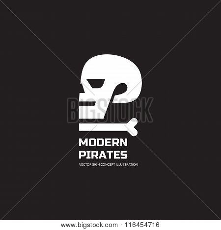 Modern pirates - vector logo concept illustration. Skull vector logo. Death logo. Dead sign.