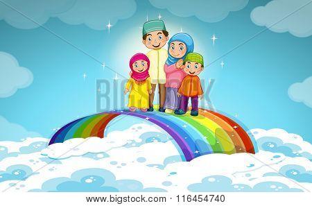 Muslim family standing on the rainbow illustration