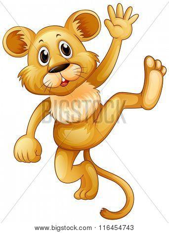 Little lion waving hand illustration